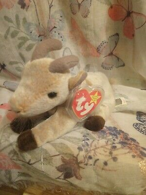 Ty Originals Beanie Babies~Goatee The Goat~  with Tag Protector.    15a
