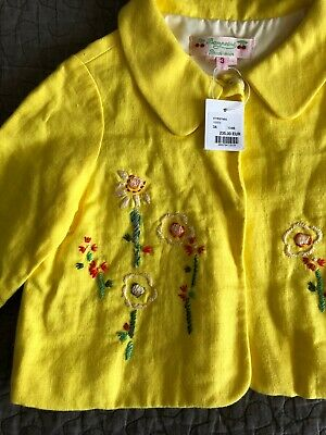 New Bonpoint 🍒Girls Yellow Smart Jacket Coat Top Zip Up BNWT Age 3 Years New