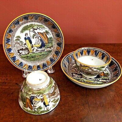 c1820/30 PAIR ENGLISH PEARLWARE POTTERY TEABOWLS & SAUCERS TRANSFER PRINTED VGC