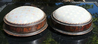 Pair of Antique Victorian Adjustable Round Upholstered Footstools