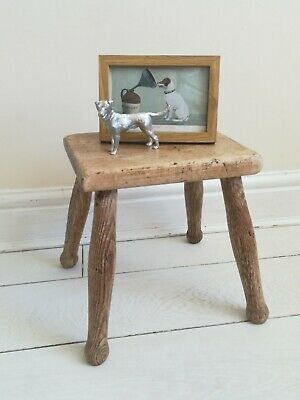 Antique Limed Oak Milking Stool 4 Turned Legs child's stool plant stand prop