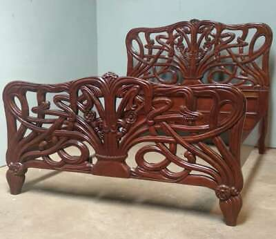 Mahogany 5' King Size Cheri Art Nouveau  Wax Finish Bed New Louis