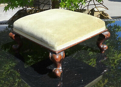 Antique Victorian Square Upholstered Footstool Mahogany Scroll Cabriole Legs