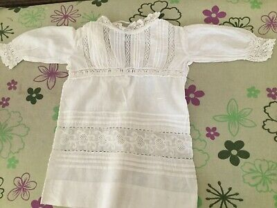 Vintage Doll Nightgown - White Cotton and Lace