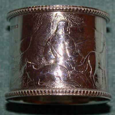 Antique English Sterling Napkin Ring, Detailed Hunter and Dog Scene