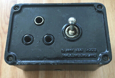 Vintage Original Cast Iron Crabtree Switch & 3 Round Pin Socket Outlet