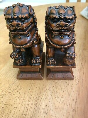 Vintage Pair Of Chinese Cinnabar Red Resin Foo / Temple Dogs
