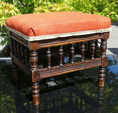 Antique Edwardian Upholstered Piano Footstool Spindle Detailing