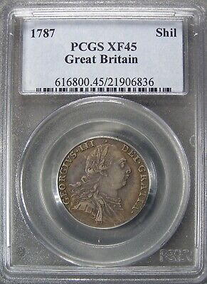 1787 Great Britain Shilling PCGS XF45 gorgeous toning!