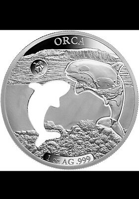 2020 Barbados Shapes America 1 oz Proof-Like Silver $5 Orca MINTAGE ONLY 7500