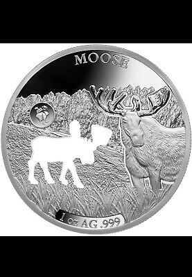 2020 Barbados Shapes America 1 oz Proof-Like Silver $5 Moose MINTAGE ONLY 7500