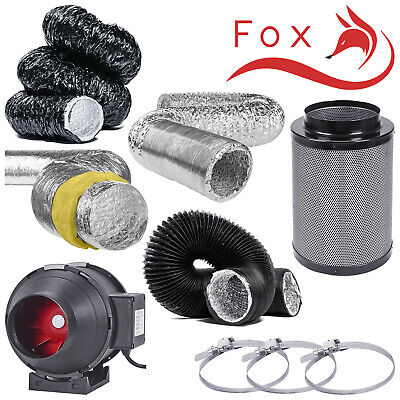 """5"""" Twin Speed Extraction Fan Filter Kits Aluminium Acoustic Black Acoustic Combi"""