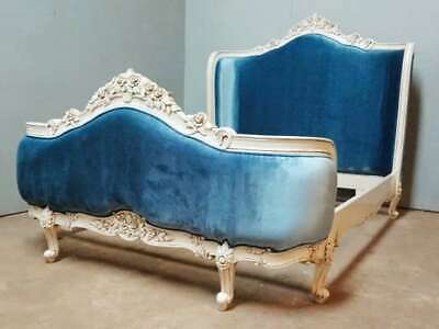 French Style 5' King Antique White Blue Upholstered Rococo Mahogany Bed New