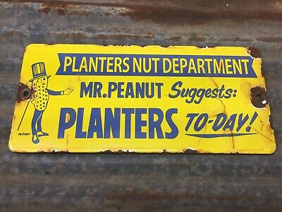 Planters Mr. Peanut Nut Department Porcelain Metal Door Push Sign