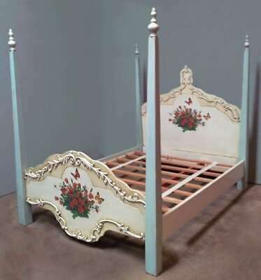 """Mahogany 4'6"""" Double Poster Hand Painted Floral Blue Antique Country Style Bed"""