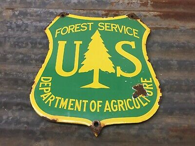 US NATIONAL PARK FOREST SERVICE PORCELAIN SIGN GAS OIL PUMP PLATE USFS Ag