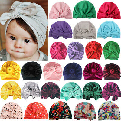Newborn Toddler Baby Turban Bow Knot Hats Head Wrap Kids Boy Girls Beanie Caps
