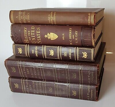 Lot of 5 Brown with Gold Old Vintage Antique Rare - Hardcover topics Random