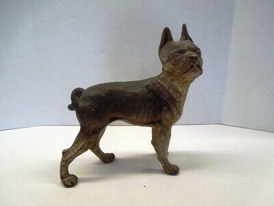 Vintage CAST IRON Boston Bull Dog Terrier Boxer Door Stop
