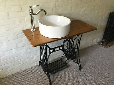 Industrial Cast Iron Bathroom Vanity Unit. Singer Sewing Wash Stand Basin & Tap