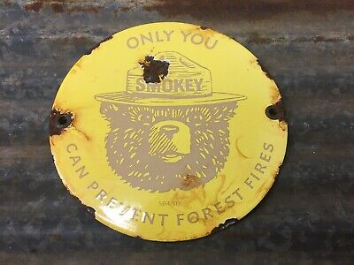 "Smokey The Bear Forest Fire Prevention 6"" Porcelain Metal Gas Oil Sign"