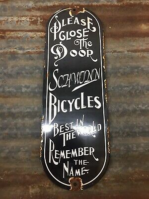 Schwinn Bicycles Porcelain Sign Gas Oil Service Station Pump Plate Rare