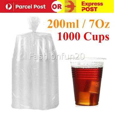 1000pcs Disposable Plastic Cups Clear Reusable Drinking Water Cup Party 200ml