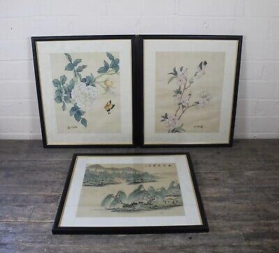 Three Vintage Signed & Framed Chinese Floral & Landscape Design Silk Paintings.