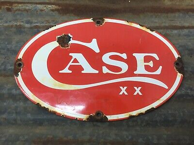 Case Knife Porcelain Enamel Sign Gas Oil Pump Plate General Store Hunting Ammo