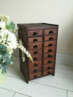 Antique Apothecary Bank16 Drawers Collectors Sewing watch makers Pine