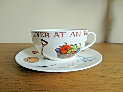 NATIONAL TRUST A Gardener's Work is Never at An End  Cup & Saucer CHINA VGC