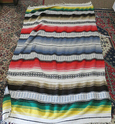 Vintage Native American / Mexican Saltillo Serape Blanket w/ Fringe Colorful