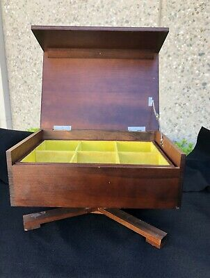 Jewelry Box Mid-century Modern MCM simple lines, turns on pedestal made in Japan