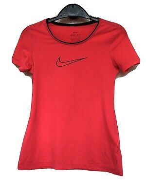 Nike Girls Dri Fit Neon Pink T Shirt Size Small (8-10 Yrs)