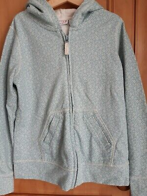 Next Girls Pale Blue Patterned Hoodie. Age 9