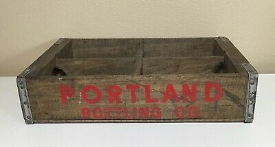 Vintage Portland Bottling Co. Oregon WOOD CRATE soda cola old carrier red