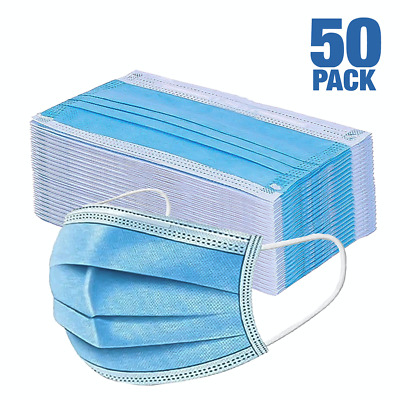 50 PCS Face Mask Surgical Dental Disposable 3-Ply Earloop Mouth Cover