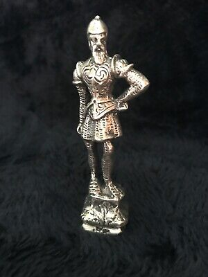 sterling silver knight soldier statue, figurine.