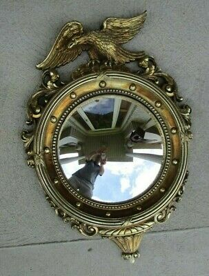 1950's Antique Syroco Federal Style Eagle America Round Convex Mirror 4007  21""