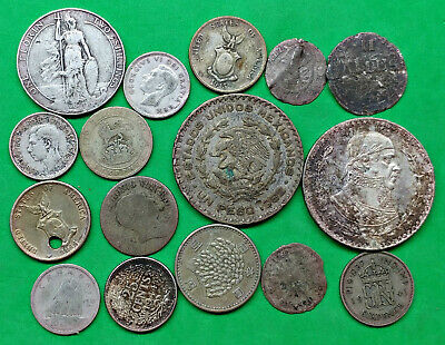 Lot of 16 Mixed Old World Foreign Junk Silver Coins 1800's -1965 !!
