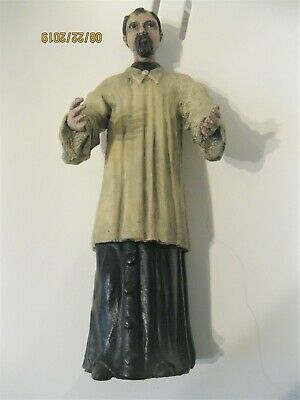 Antique Hand Carved Wood Santo Hand Painted Great Condition