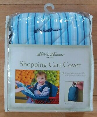 NEW Eddie Bauer Blue & White Shopping Cart Cover With Zippered Pocket