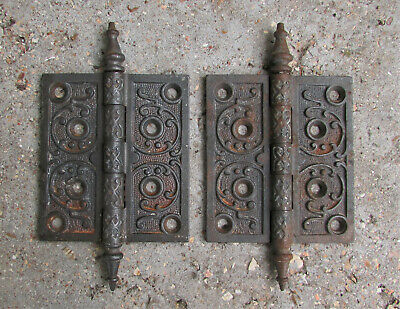 Vintage Cast Iron Door Hinge Lot Pair Steeple Tips Pins Antique Salvage Ornate