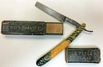 D PERES SOLINGEN 118 FARMERS BEAUTY Nude Celluloid Handle STRAIGHT RAZOR