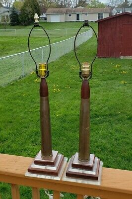 Mid Century Artillery Shell And Lucite Lamps Pair