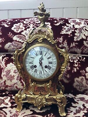 Late C19th French Boulle Mantle Clock With Gilt Metal Mounts, strike Movement