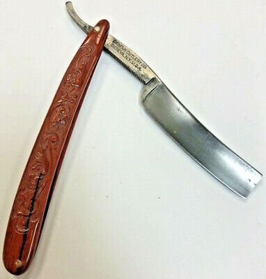 GENEVA CUTLERY CO. New York FANCY ANTIQUE STRAIGHT RAZOR BRICK RED CELLULOID