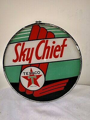 Gas Pump Globe TEXACO SKY CHIEF original GLASS LENSE PRE OWNED