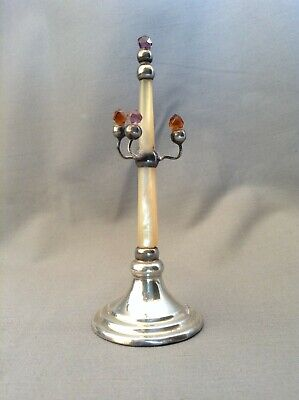 Antique silver & mother of pearl ring stand