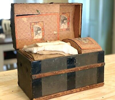 Antique Miniature  Victorian 1890s Childs Doll Tin Dome Trunk & Antique Clothing